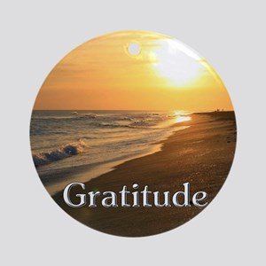 Gratitude Sunset Beach Ornament (Round)