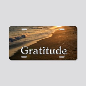 Gratitude Sunset Beach Aluminum License Plate