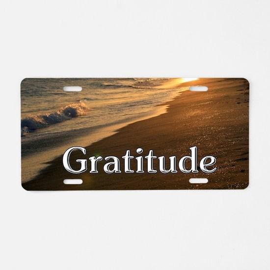 Gratitude Sunset Beach Aluminum License Plate