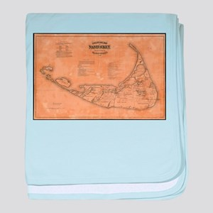 Vintage Map of Nantucket (1869) baby blanket