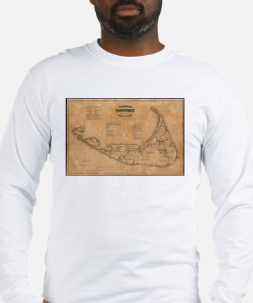 Vintage Map of Nantucket (1869 Long Sleeve T-Shirt