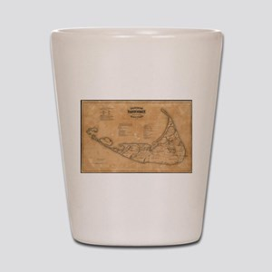 Vintage Map of Nantucket (1869) Shot Glass