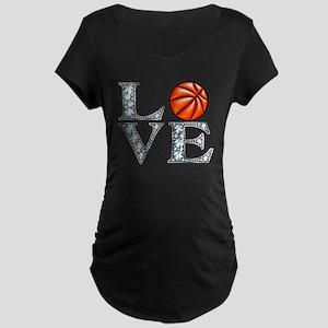 Love Basketball Maternity Dark T-Shirt
