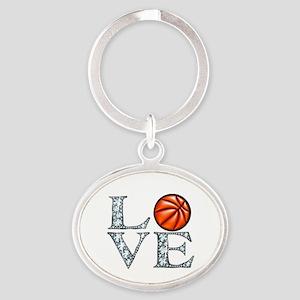 Love Basketball Oval Keychain