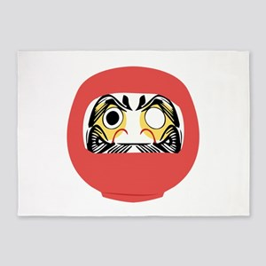 Japanese Daruma Doll 5'x7'Area Rug