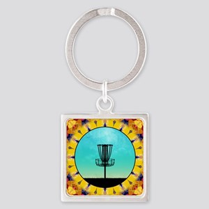 Disc Golf Abstract Basket 4 Keychains