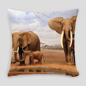 Family Of Elephants Everyday Pillow