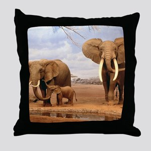 Family Of Elephants Throw Pillow