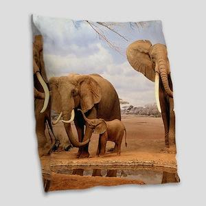 Family Of Elephants Burlap Throw Pillow
