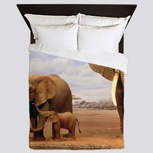 Family Of Elephants Queen Duvet
