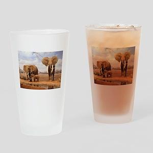 Family Of Elephants Drinking Glass