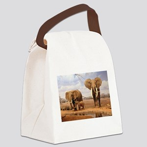 Family Of Elephants Canvas Lunch Bag