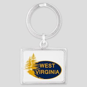 WVU Landscape Keychain