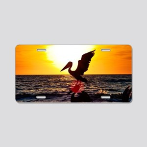 Pelican On Ocean At Sunset Aluminum License Plate