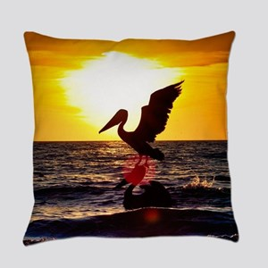 Pelican On Ocean At Sunset Everyday Pillow