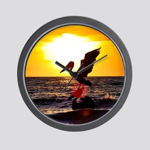Pelican On Ocean At Sunset Wall Clock