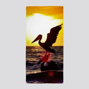 Pelican On Ocean At Sunset Beach Towel