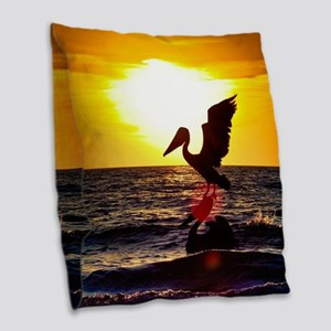 Pelican On Ocean At Sunset Burlap Throw Pillow
