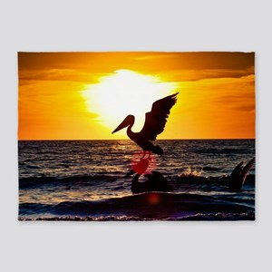 Pelican On Ocean At Sunset 5'x7'Area Rug