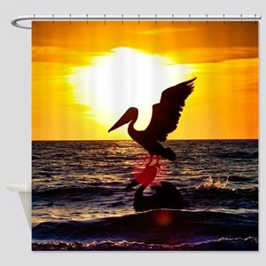 Pelican On Ocean At Sunset Shower Curtain