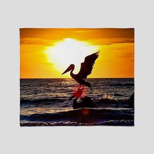 Pelican On Ocean At Sunset Throw Blanket
