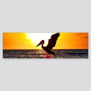 Pelican On Ocean At Sunset Bumper Sticker