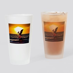 Pelican On Ocean At Sunset Drinking Glass