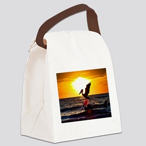 Pelican On Ocean At Sunset Canvas Lunch Bag
