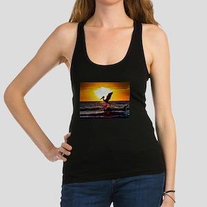 Pelican On Ocean At Sunset Racerback Tank Top