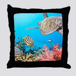 Turtle and Fishes Under Water Throw Pillow