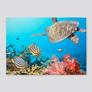Turtle and Fishes Under Water 5'x7'Area Rug