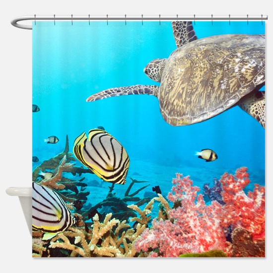 Turtle and Fishes Under Water Shower Curtain