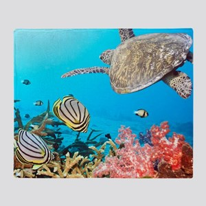Turtle and Fishes Under Water Throw Blanket