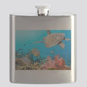 Turtle and Fishes Under Water Flask