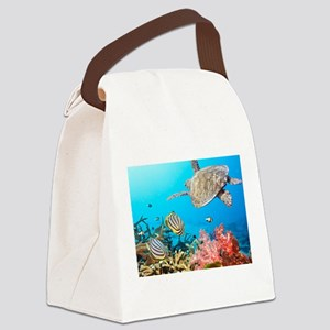 Turtle and Fishes Under Water Canvas Lunch Bag