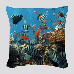 Fishes and Underwater Plants Woven Throw Pillow