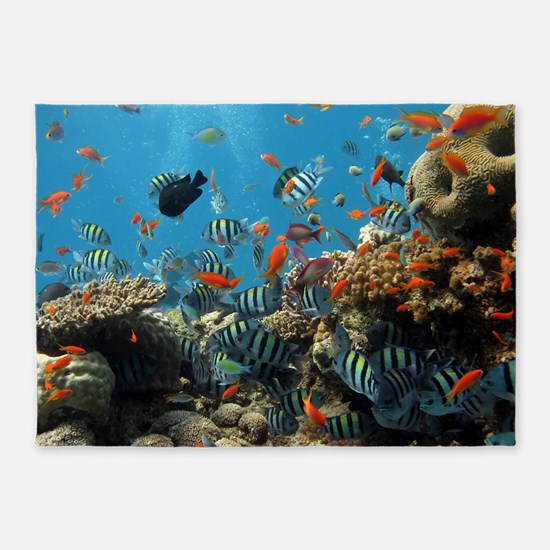 Fishes and Underwater Plants 5'x7'Area Rug