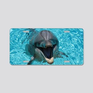 Smiling Dolphin Aluminum License Plate