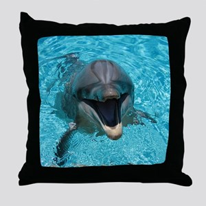 Smiling Dolphin Throw Pillow