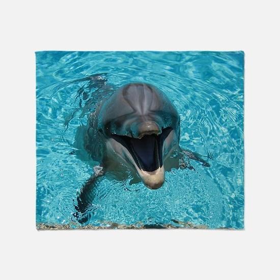Smiling Dolphin Throw Blanket