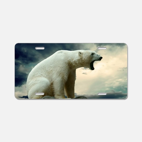 Polar Bear Roaring Aluminum License Plate