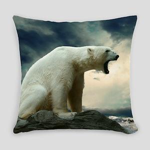 Polar Bear Roaring Everyday Pillow