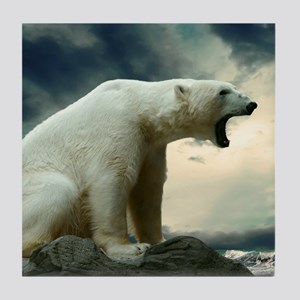 Polar Bear Roaring Tile Coaster