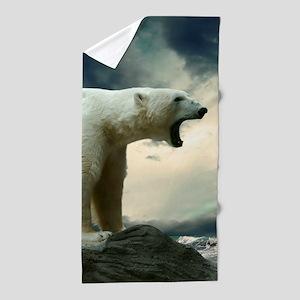 Polar Bear Roaring Beach Towel