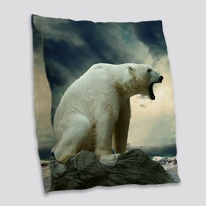 Polar Bear Roaring Burlap Throw Pillow
