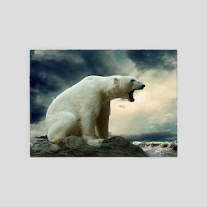 Polar Bear Roaring 5'x7'Area Rug