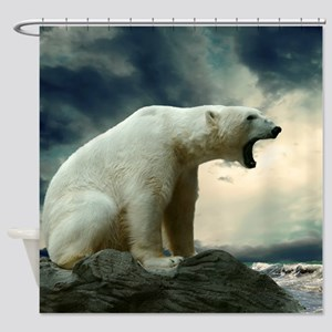 Polar Bear Roaring Shower Curtain