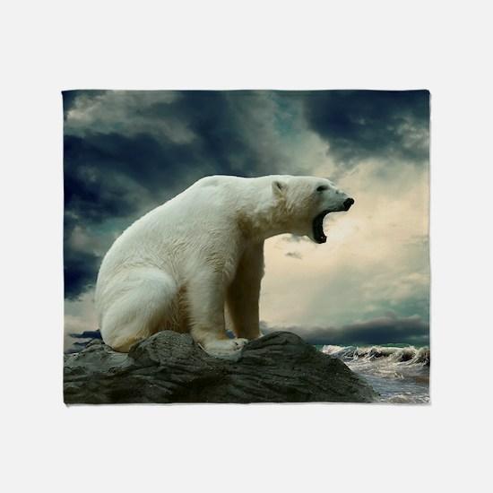 Polar Bear Roaring Throw Blanket