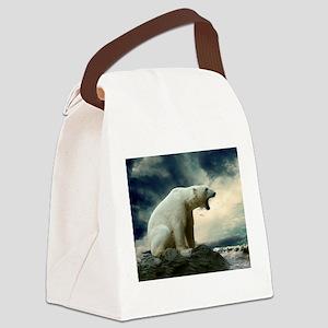 Polar Bear Roaring Canvas Lunch Bag