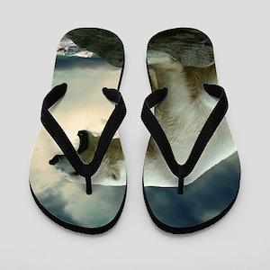 Polar Bear Roaring Flip Flops